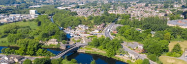 A panoramic view of Kirklees in the sunshine.