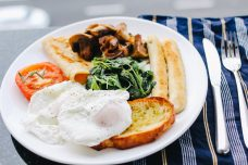 A cooked breakfast featuring healthier options.