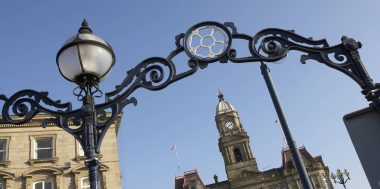 DEWSBURY TOWN HALL IN TOWN SQUARE, WEST YORKSHIRE, ENGLAND, UK.